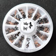 Black Gold 3d nail art bijoux ongles strass ongles decoracion de unas nail glitter decorazioni unghie