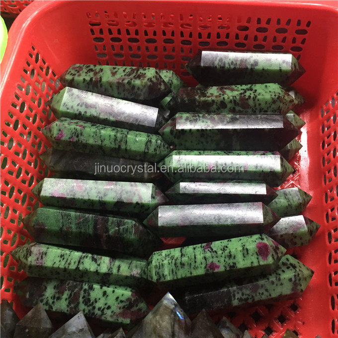 wholesale Natural ruby zoisite crystal gem specimens wand point healing double Terminated Crystal Point
