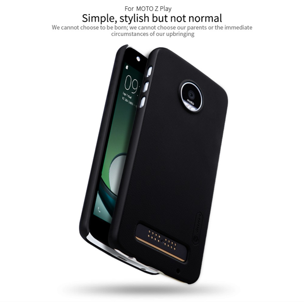 nillkin frosted phone bag case for moto z paly hard plastic back cover gift screen protector. Black Bedroom Furniture Sets. Home Design Ideas