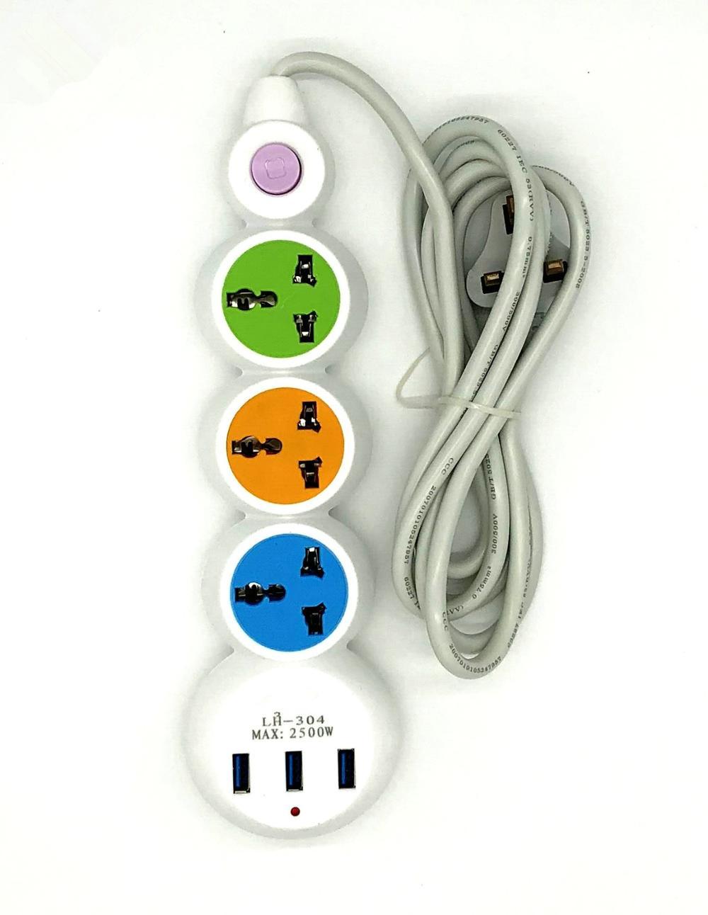 USB Power Strip Power Sockets + 3 USB Outlets Protected Extension Lead Adapter USB Socket EU UK US Plug