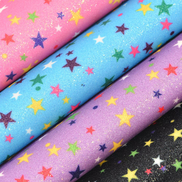 54 inch (1.37 m)Colorful stars printed glitter fabric pu leather for bags