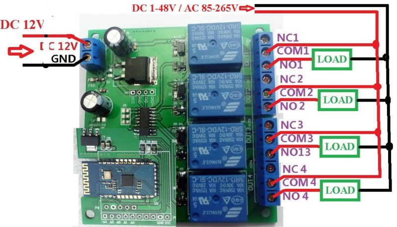 12v 4ch bluetooth relay android mobile remote control ... spdt momentary switch wiring diagram 4 channel momentary remote wiring diagram #15