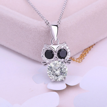 Yiwu Hainon pendant Sterling Silver Owl Shiny Zircon girl wedding engagement gift jewelry pendant
