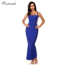 Скидка до 90%! 10-й юбилейный шоппинг фестиваль! 2020 летнее высококачественное женское сексуальное синее длинное Бандажное платье бодикон(Китай)