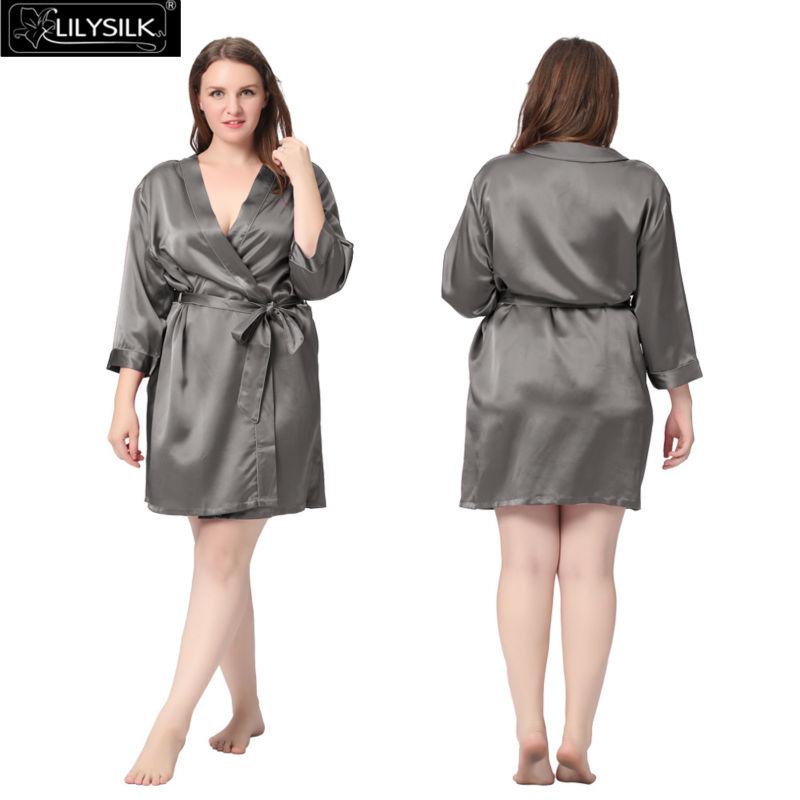 a84aebc4bc 2019 Wholesale Lilysilk 100% Pure Silk Robe Women Plus Size 22 Momme ...