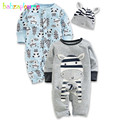 3 Piece 0 24Months Spring Autumn Baby Rompers Hat Cartoon Cute Infant Boys Girls Clothes 100