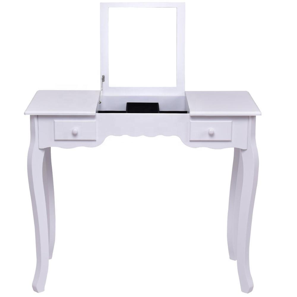 Vanity Set Dressing Table Flip Top Mirror Cushioned Bench Bedroom Furniture Table Desk Set Buy Table Desk Set Dressing Table Bedroom Furniture Vanity Set Product On Alibaba Com