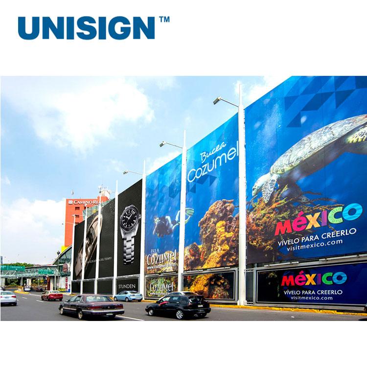 Материал для наружной рекламы Unisign 340gsm 440gsm 510gsm PVC Frontlit Flex, рулон баннера для плаката