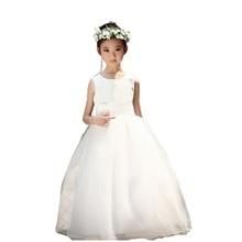Meninas princesa Super longo branco flores fleabane fleabane amarga amargo gaze vestido das meninas Do vestido de Casamento, da menina de flor vestido