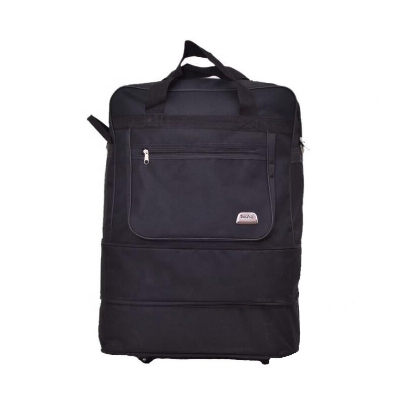 black large capacity expandable duffel bag with wheels