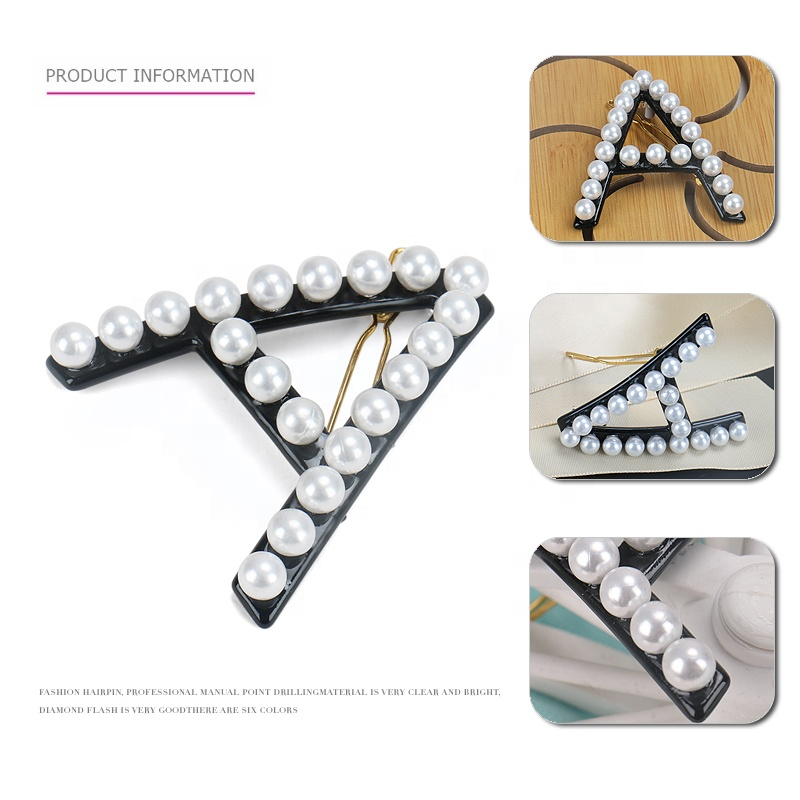 Support for Custom 26 Letters Hot Sale ABCD Pearl Hair Clip Pearl Letter Hair Pin
