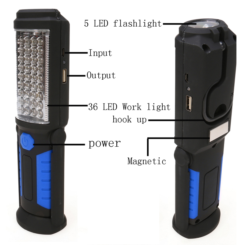 Multifunction USB Rechargeable 36+5 LED Flashlight,Outdoor