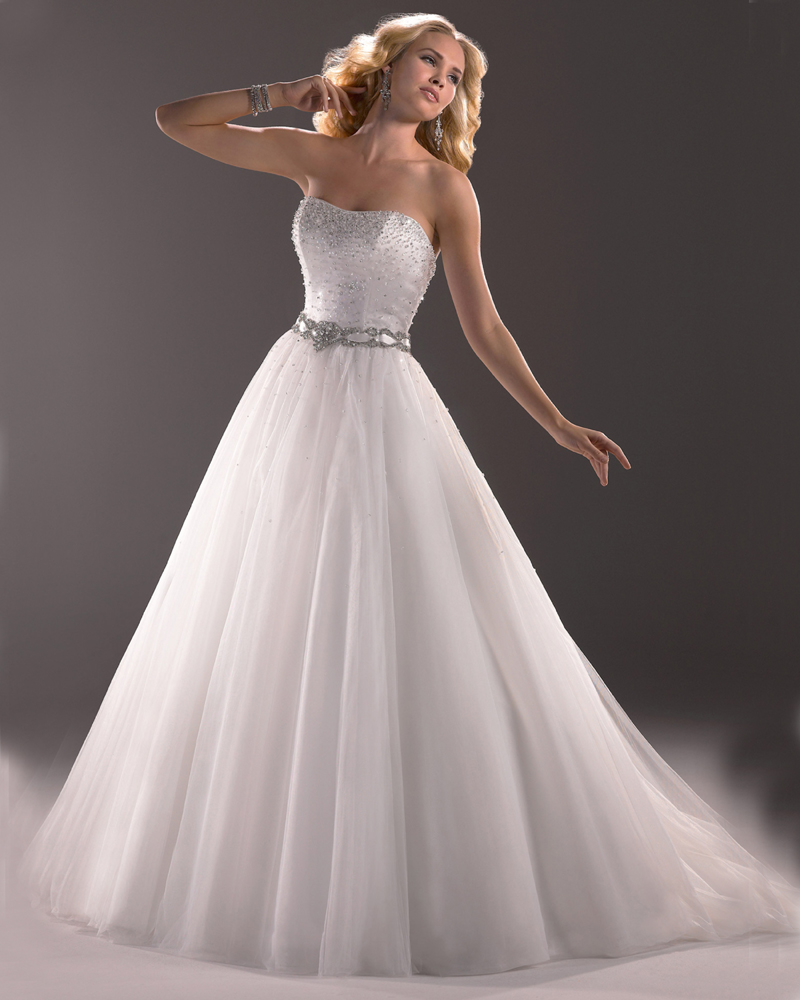 Princess Wedding Dresses: White Organza Silver Beading Corset Ball Gown Princess