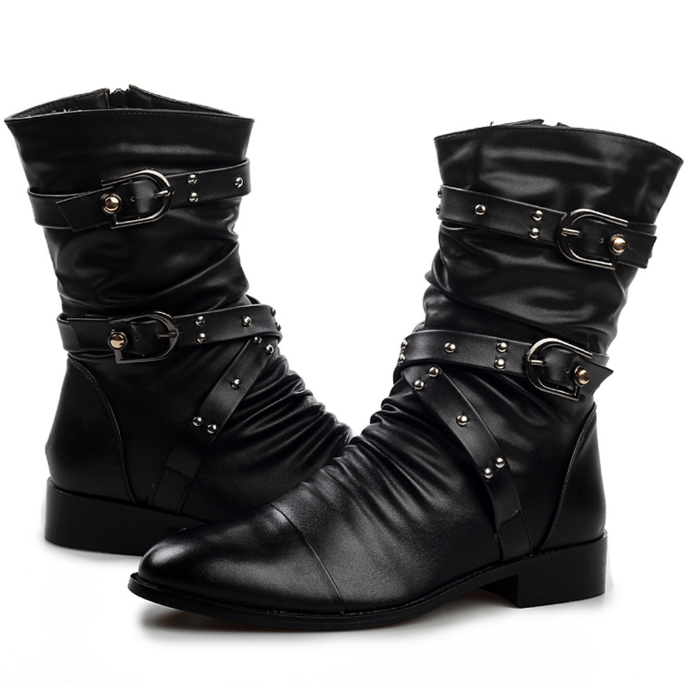 Cool Fashion Quality Pleated Leather Motorcycle Ankle