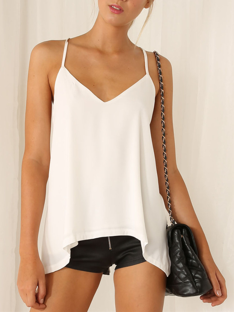 White Spaghetti T-Back Top R Pasasana Cotton Spandex Spaghetti T-Back Top (Noose Pose) Spaghetti T-Back Top Extra Long with Bra Support This top has been designed as a summer alternative to the Racer Back Top.