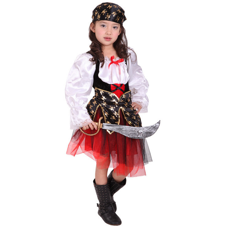 7 Sets lot Free Shipping font b Children b font Girls Pirate Costumes Carnival Halloween Masquerade