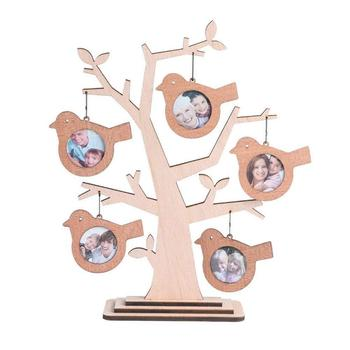 Picture frames family trees natural wooden bird recycle photo frames