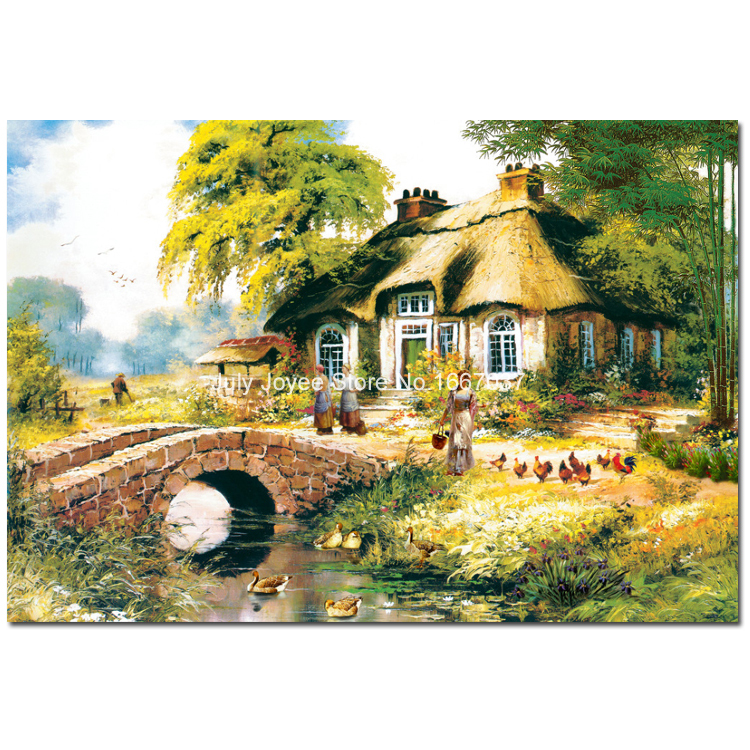 A Country House With Ducks Hens Diy Diamond Embroidery