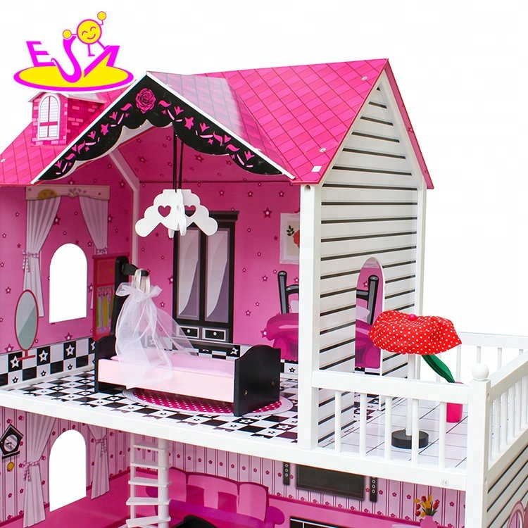 New design lovely sticker wooden dolls house for girls W06A251B