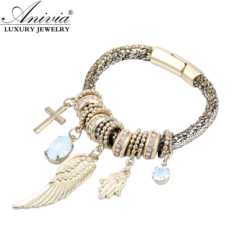 Magnetic Charm Bracelet: ANIVIA Fashion Magnetic Clasp Cuff Bracelets Crystal Angel