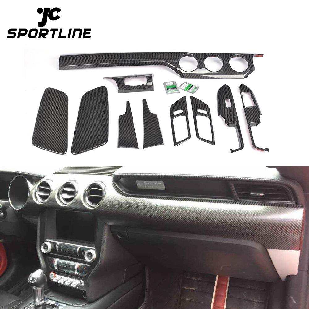 Ford Mustang Coup/é 2 Interni in Fibra di Carbonio Nero Reale Dash Trim Kit Set 2015 2016 2017 2018