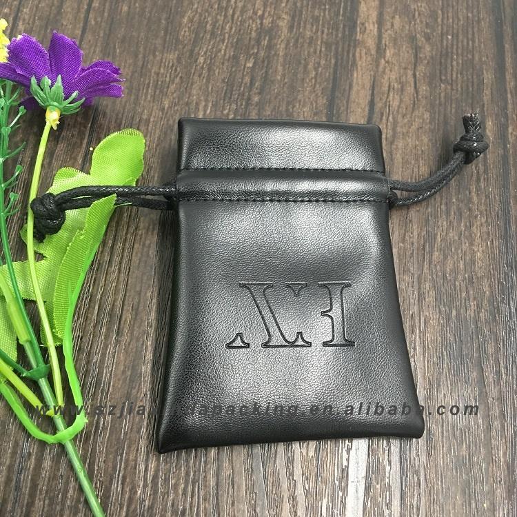 Маленький тисненый мягкий кожаный мешочек для ювелирных изделий с тисненым логотипом