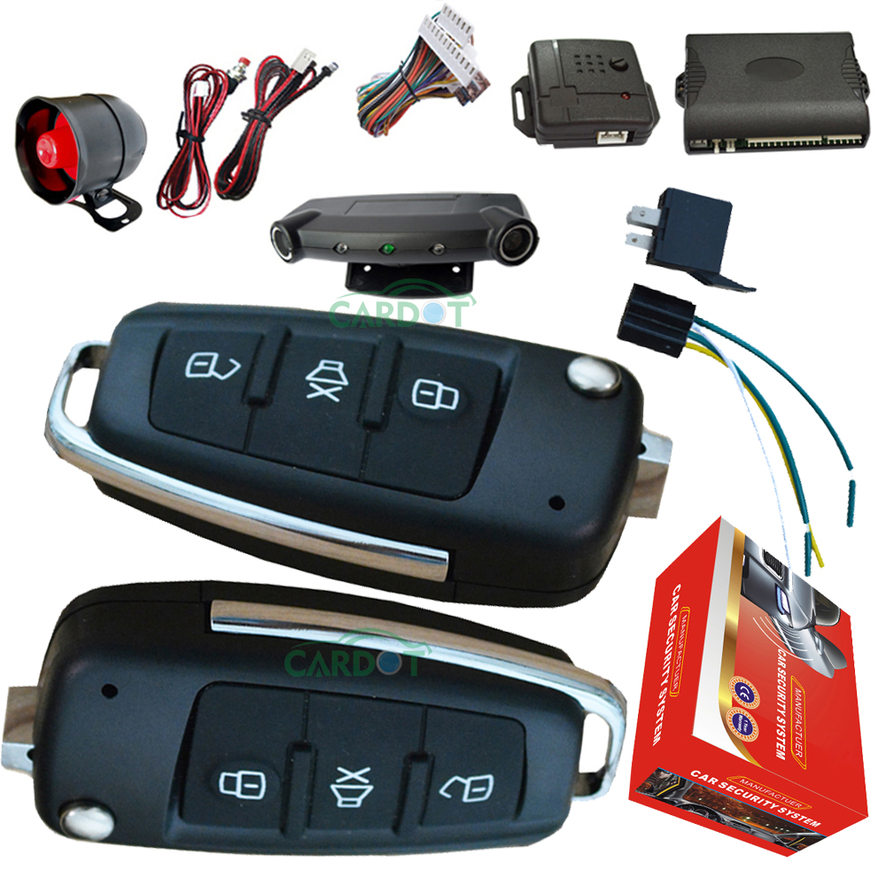 Top Car Alarm System With AD Flip Key Alarm Remotes Sound