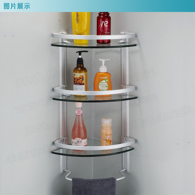 Bathroom Shower Corner Shelves: Aluminum 3 Tier Glass Shelf Shower Holder Bathroom