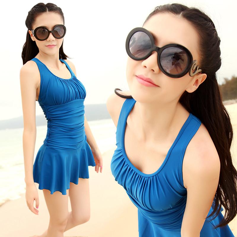 maillot de bain hot spring swimwear female swimsuit one piece dress fashion plus size swimwear. Black Bedroom Furniture Sets. Home Design Ideas