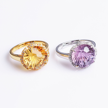 hot sale trendy SGARIT 925 silver jewelry natural gemstone ring women yellow citrine purple amethyst adjustable crystal ring
