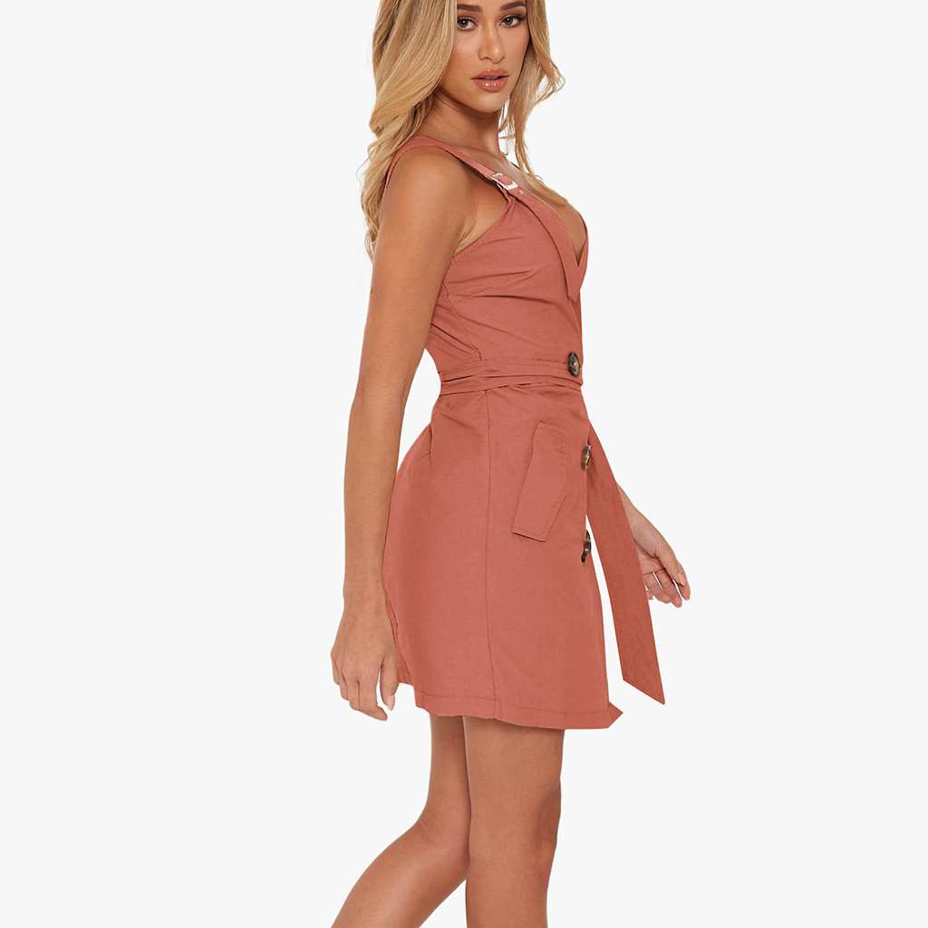 b087e09fd9 Women Deep V Wrap Ruched Sleeveless Nightclub Mini Dress With Pocket ...