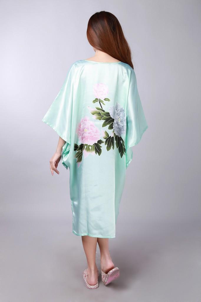 מכירה חמה ירוק חדש האביב הסיני נשים גלימת משי זהורית Mujer Pijama הלבשת לילה חופשי אמבטיה שמלת כותונת לילה פרח אחד גודל S0109