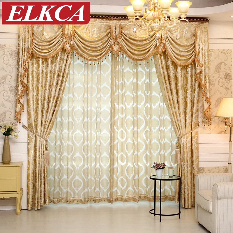 1 Pc European Gloden Royal Luxury Curtains For Bedroom