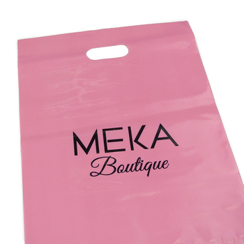 Hot Selling Cheap custom logo 8*12 LDPE/HDPE printed reusable foldable handle pink shopping bags Die Cut plastic carry bag