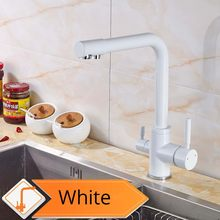 Хромированный латунный отвод очищенной воды, кухонный смеситель, кухонный кран, фильтр для чистой воды, бортике, двойные ручки, краны для го...(Китай)