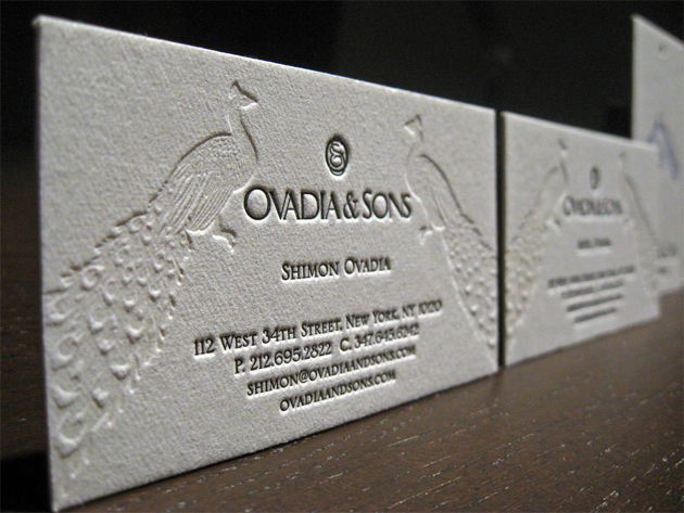 Double side letterpress printed business card