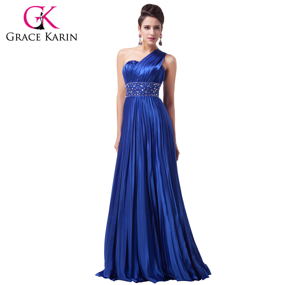 Discount Free Shipping Cwds078 One Shoulder With: Grace Karin Royal Blue Long Prom Dress One Shoulder