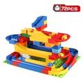 Free shipping 72pcs DIY Construction Marble Race Run Maze Balls Track Plastic House Building Blocks Toys