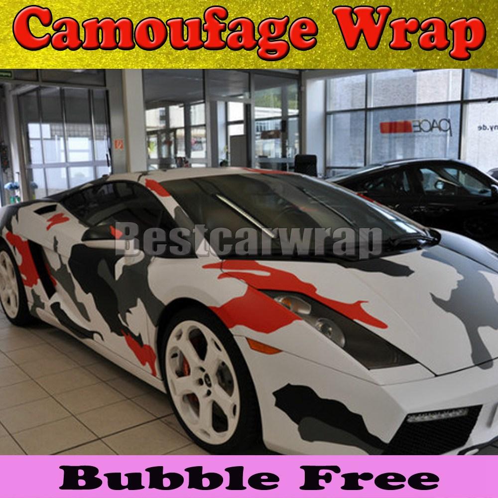 rouge blanc arctique camo vinyle voiture wrap film avec air rlease brillant mat neige. Black Bedroom Furniture Sets. Home Design Ideas