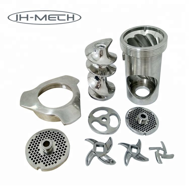 JH-Mech Custom Design OEM ODM Stainless Steel Meat Mincer Grinder Spare Parts Knives Plates Blade Mesh Worm Screw Propeller Ring