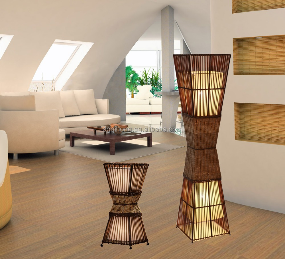 rattan bamboo table lamp 2-light lamp table lights for home