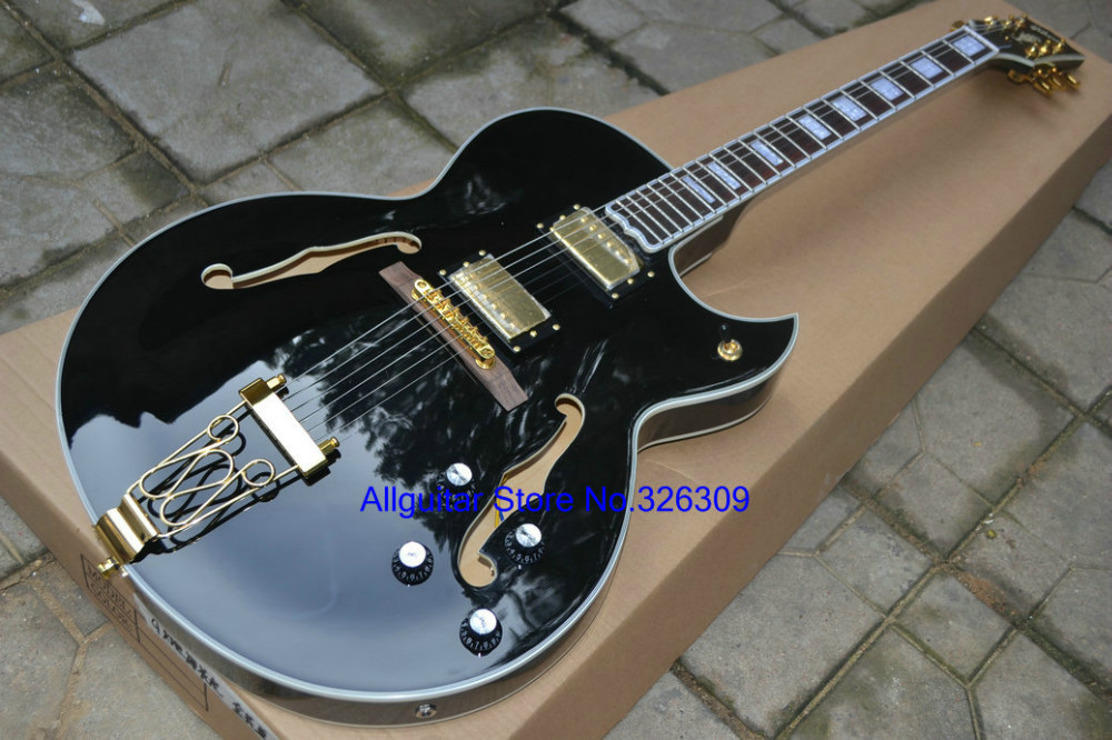 best selling jazz hollow guitar golden hardware electric guitars free shipping in guitar from. Black Bedroom Furniture Sets. Home Design Ideas