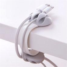 1 шт. силиконовый держатель для сматывания кабеля, сплошной цвет, органайзер для кабеля, настольный держатель для провода, фиксатор строки, н...(Китай)
