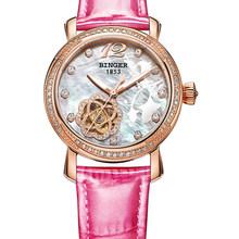 Швейцарские часы бингера, женские модные роскошные часы с кожаным ремешком, механические наручные часы с автоматической обмоткой, часы для ...(Китай)