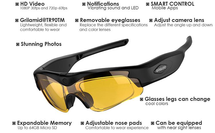WIFI APP Full HD 1080P Sport Video camera glasses, Smart