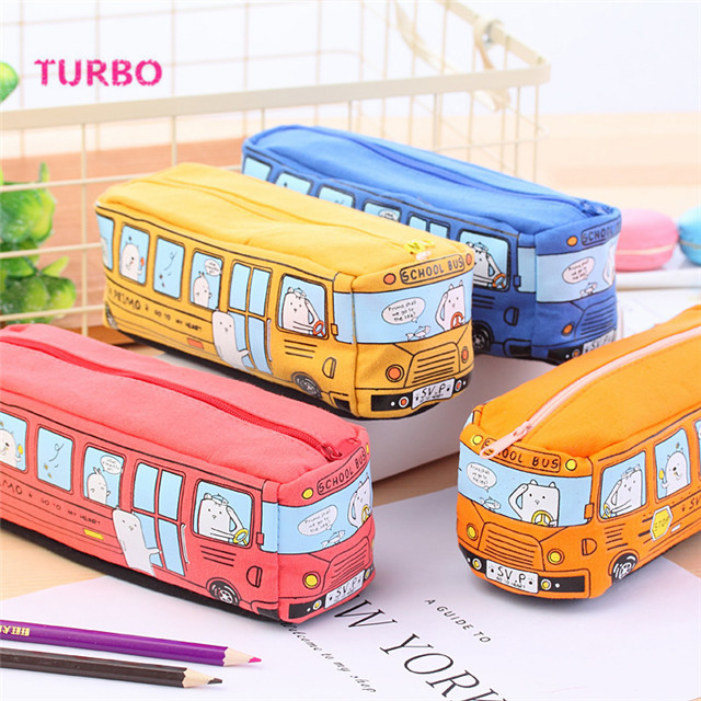China Newest Fashion Students Cute school stationery custom print Creative simple Large Space Bus shaped canvas pencil case bag