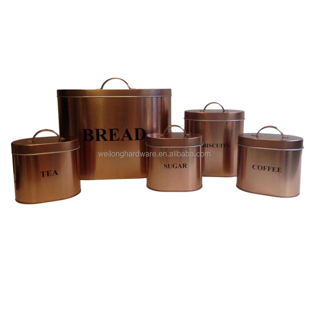 Rose Gold Set Of 5 Kitchen Canister Set Metal Bread Box Tea Sugar Coffee Pot Buy Large Metal Storage Bins Kitchen Round Metal Canisters Kitchen Tea Coffee Sugar Canisters Product On Alibaba Com