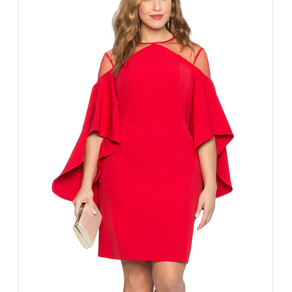 6a09c8c51f865 Ladies Plus Size Elegant Gown Women Big Size Mesh Spliced Dress O-neck  Butterfly Sleeve Autumn Clothing Retro Evening Vestidos