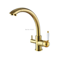 2016 Solid Brass Swivel 3 in 1 Drinking Water Kitchen Faucets Robinet Para Torneira Wels Sink