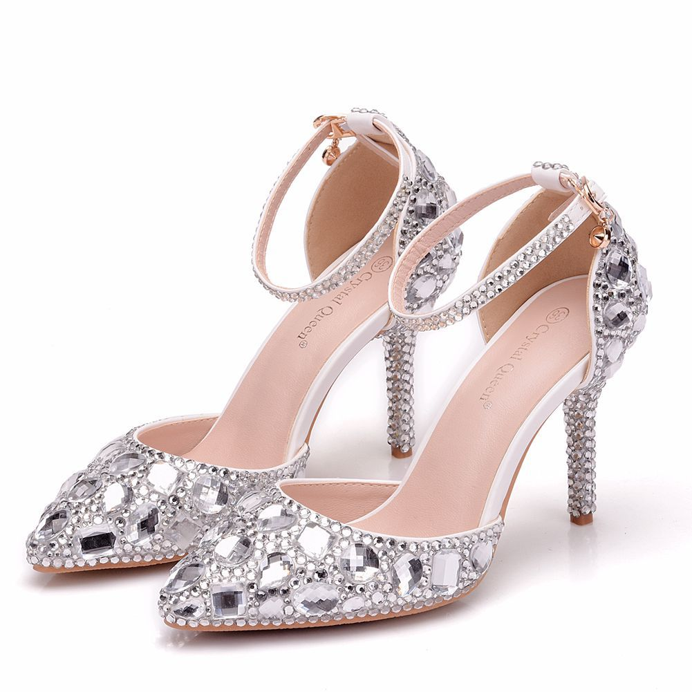 2e11c754bb High Heels Pumps Women Shoes Pointed Toe Rhinestone Wedding Bridal Shoes  Leather Crystal Heels Luxury Ladies Shoes Zapatos Mujer
